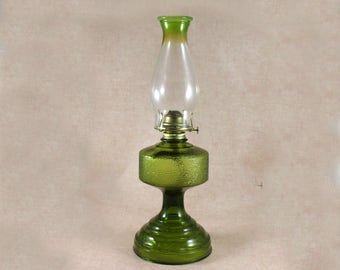Vintage Eagle Kerosene Oil Hurricane Lamp, Green Glass, Clear Chimney with Green Tip, Vintage from 1970s