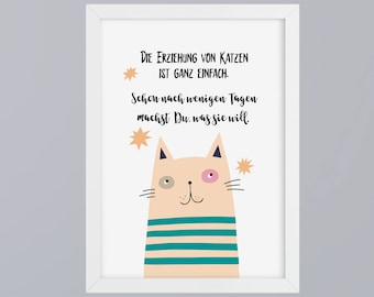 Cats education - art print, unframed