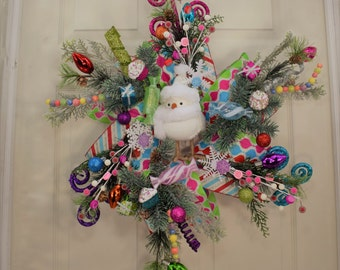 Colorful Christmas Wreath- Holiday Wreath- Frontdoor Wreath- Crazy Christmas Wreath- Xmas Wreath- Chicken wire Wreath- Pine Wreath