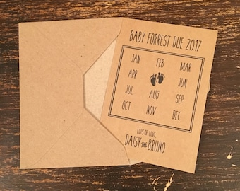 Pregnancy Announcement Cards with Envelopes, Calendar Style, Vintage Rustic Country Chic Style, 8 pack