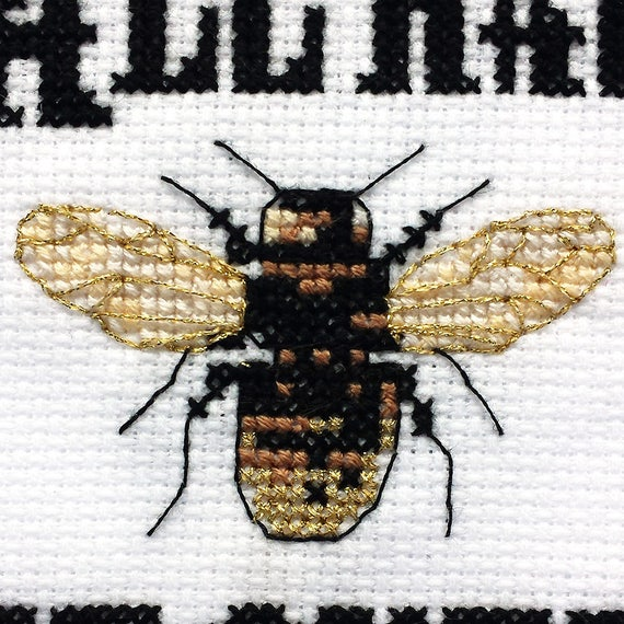 Queen Bee Home Decor Bee Cross Stitch Queen Bee Decor Funny Bee Queen Bee Funny Insect