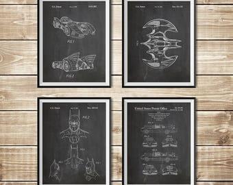 Batman Art Posters, Patent Print Group, Batman Blueprint, Batman Posters, Patent Print Set,Batman Printable,Batwing Poster, INSTANT DOWNLOAD