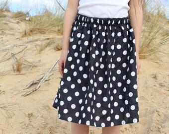 Skirt in peas, daughter, Bohemian skirt skirt, skirt girl, black and white skirt
