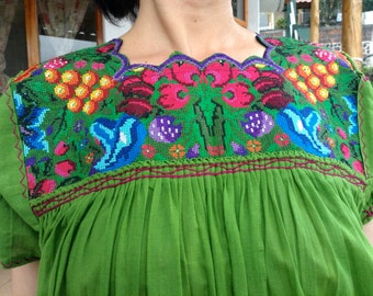 free shipping, mexican embroidered dress, cross-stitched dress, green dress, moss green dress, beach cover up, beach dress, cross-stitched