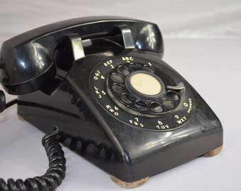 Black Rotary Dial Desk Phone, Bell System by Western Electric
