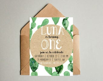 Boho Cactus Birthday Invitations- print yourself- First Birthday, Birthday Party, Invitations