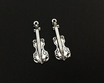 Violin Charm.  Lot of 10 / 20 / 30 / 40 / 50 / 100 PCS Silver Plated Music Instrument Charms. Handmade Jewelry Supplies. DIY Craft Supplies.