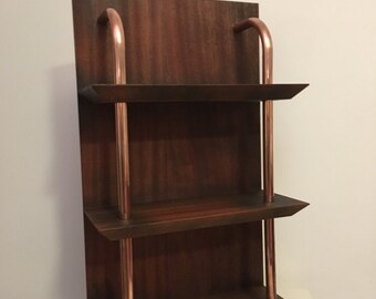 3 tier wall mounted copper display shelving unit