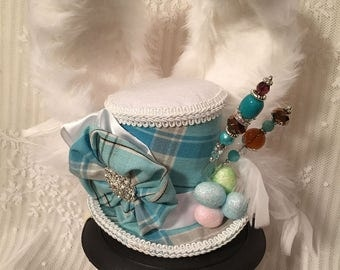 Mini Top Hat, Rabbit Ear Hat, Bunny Ear Hat, Alice In Wonderland, White Rabbit, Mad Hatter Hat, Tea party, Easter Bonnet, Easter Hat
