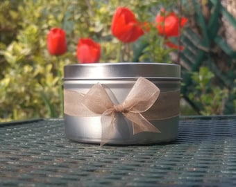 White Tea Soy Candle - 8 oz tin - Scented candle - Candle - White Tea - Engagement Gift - Soy Candle - Aromatherapy candle - Wedding Gift