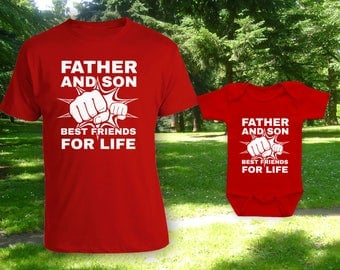 Father and Son Best Friends for Life matching father son t-shirts, father's day gift, gift for dad, when is fathers day,bodysuit-CCB-604-604