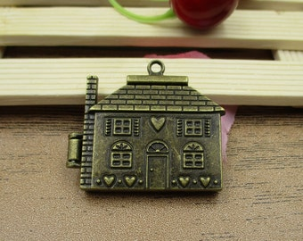 1 Bronze House Charm Locket Pendant ,Magnet Buckle,Openable Pendant-TS037