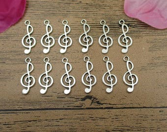 30 Treble Clef Charms ,Antique Silver Tone -RS514
