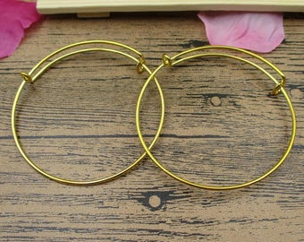 2 Round Bracelet Bangles, Golden Tone(Diameter is 6.5cm,can be adjusted )-GS007