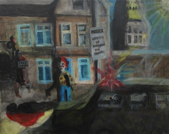 No clowning around - 15.5/8 X 16 ,Acrylic  Canvass painting, Clown mayhem, news, politics