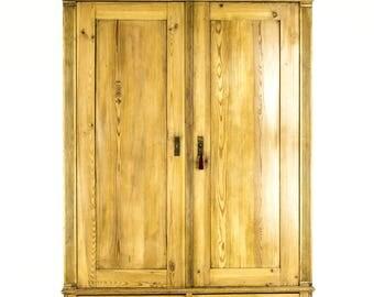 B601 Antique Danish 2 Door Pine Armoire, Wardrobe, Closet