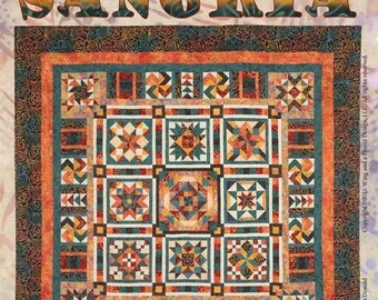 SANGRIA KING QUILT Kit Or Block Of The Month King/Queen Quilt Kit - Sangria Batiks Timeless Treasures, Wing And A Prayer, Orange/Teal Batiks