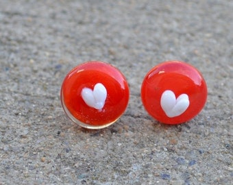 Love Earrings, Red Valentine Ear Studs