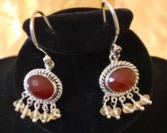 USA FREE SHIPPING!! Carnelian and Citrine Sterling Silver Earrings