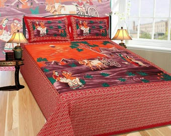 Indian Ethnic Cotton Bed Sheet