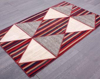 Turkish Patchwork Kilim ,Rug ,Carpet ,Anatolian Patchwork -wool rug-Handmade,colorful,150x238=357