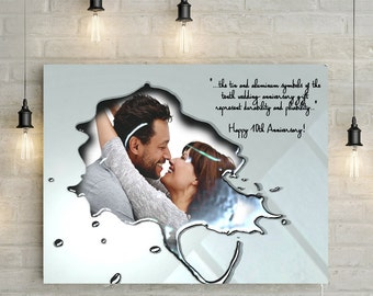10th / Tin / Aluminium Wedding Anniversary Portrait With Custom Message - Melted Metal effect, Personalized Canvas Print or Printable