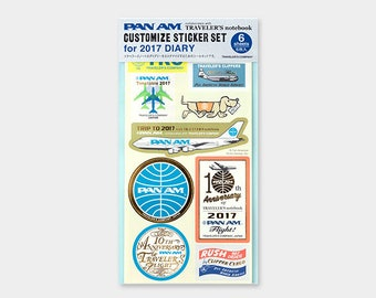 Traveler's Notebook Customized Sticker Set for 2017 DIARY PAN AM 40217006 Traveler's Factory Midori Designphil Sale