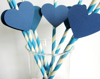 Paper straw with hearts. 10 pieces. Blue, Blue rose. Children's Party, baby, wedding, anniversary, party decoration.