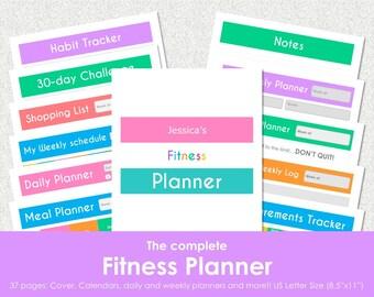 "Fitness planner bundle for binder.  Workout log and tracker, 30 Day challenge. US Letter Size (8.5""x11""). Instant download. PDF File."
