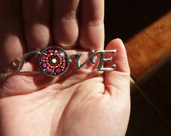 Pink Love Pendant With Silver Plated Chain, Dot Painted Silver Color Love Necklace