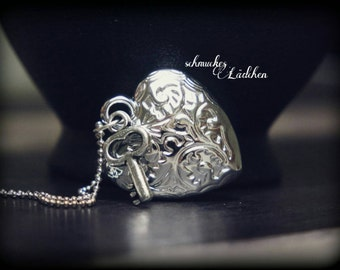 silver plated ball chain with heart pendant and key