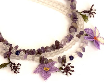 Amethyst, Glass Beads and Oya (Turkish Lace) Necklace