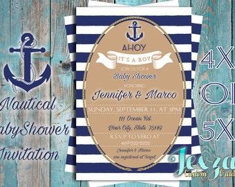 Nautical Baby Shower Invitation | Nautical Baby Shower | Nautical Invitations | Baby Boy Baby Shower