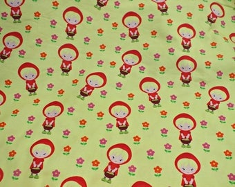 Cotton Jersey Red yellow green Red Riding Hood fabric by the metre 0.50 metres