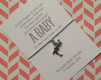 Baby shower favour friendship /wish bracelet with personalised backing card, hand made gift, party bag filler, stork charm, poem