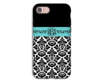 Monogram iPhone 7 case, black damask iPhone 7 Plus case, iPhone cases for girls, iPhone 6s Plus case/6s case, 3D iPhone case, iPhone SE case