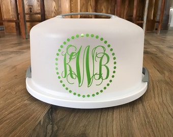Monogram Cake Carrier / Pie Carrier / Cake Holder / Cake Taker / Cake Plate / Custom Cake Carrier / Cake Keeper / Personalized Carrier