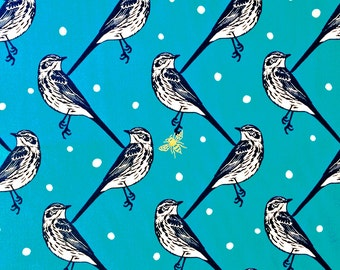 Bluebird Fabric | Sateen | Japanese Import | Gold Metallic | Unique Bird Print | Bumble Bee | Swallows | Teal | Polka Dots | Seven Islands