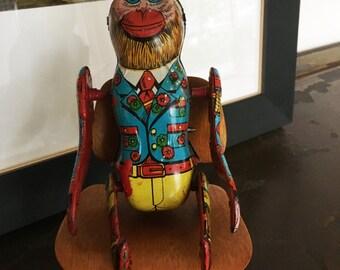 Vintage Natraj Tin Toy Flipping Monkey