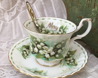 Royal Albert England MAY Lily of the Valley Flower of the Month TEACUP / SAUCER & Rarest Spoon Muguet 1er Mai