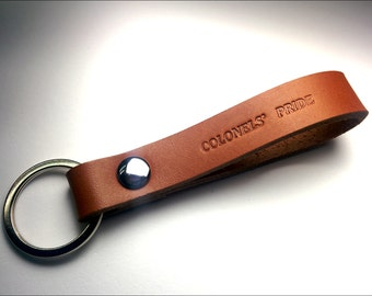Personalized Leather Keychain Thick, Leather Key Fob - Leather Lanyard - Embossed Leather Keychains - Keychains - Brown - Gps Coordinates