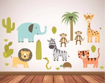 Safari animals themed wall decals for children's bedroom / playroom - animal wall stickers - kids wall decals - safari- kids  wall decor