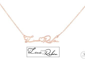 "Rosé gold 925 Silver ""handwritten / signature"" chain"