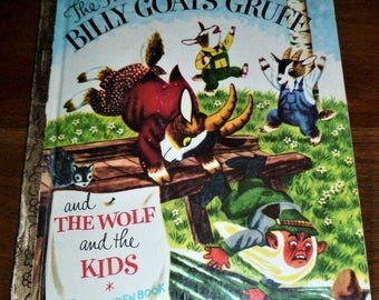 """Vintage 1974 Little Golden Book """"The Three Billy Goats Gruff and The Wolf and the Kids"""" / Retro Kids Story Book"""