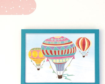 Vintage Hot Air Balloons illustration // Art print for kids, baby's bedroom // Flying, sky // 30 x 40cm