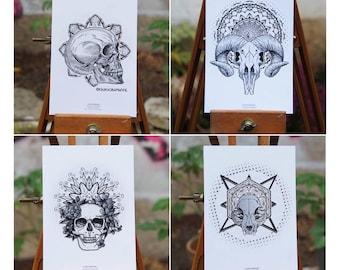 Lot 4 postcards Skulls & Mandalas