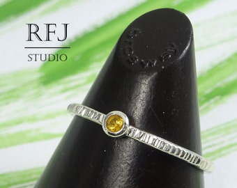 Natural Citrine Textured Silver Ring, 2mm Round Cut Yellow Citrine Ring with Small Texture Sterling Stacker Earth Mined Genuine Citrine Ring