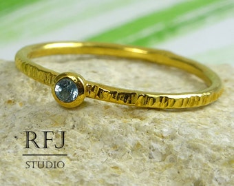 24K Gold Plated Natural Swiss Topaz Textured Ring, Yellow Gold Plated 2 mm December Birthstone Round Cut Stackable Swiss Blue Topaz Ring