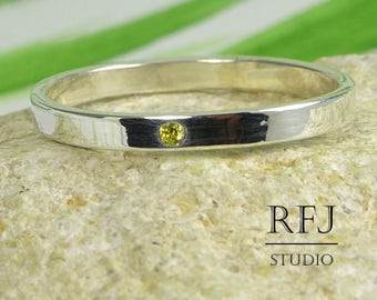 Dainty Lab Citrine Silver Band, November Birthstone Ring, 1.25 mm Round Cut Yellow CZ Stacking Band 2 mm Sterling Citrine Narrow Little Band