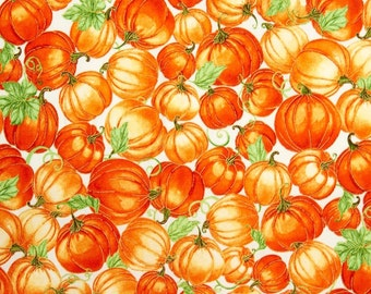 "Pumpkins Fabric: Harvest Bounty Pumpkin Packed Ecru Cream Metallic by Quilting Treasures 100% cotton fabric by the yard 36""x43"" (N647)"